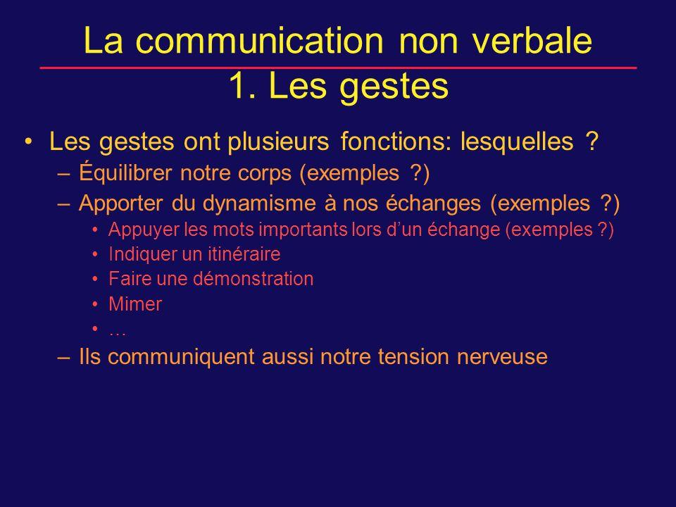 Les gestes ont plusieurs fonctions: lesquelles .