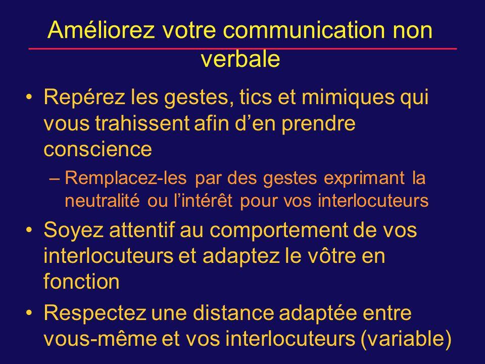 Améliorez votre communication non verbale Repérez les gestes, tics et mimiques qui vous trahissent afin den prendre conscience –Remplacez-les par des gestes exprimant la neutralité ou lintérêt pour vos interlocuteurs Soyez attentif au comportement de vos interlocuteurs et adaptez le vôtre en fonction Respectez une distance adaptée entre vous-même et vos interlocuteurs (variable)