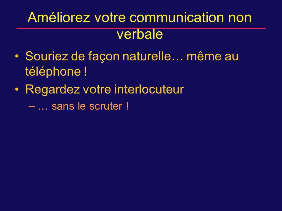 Améliorez votre communication non verbale Souriez de façon naturelle… même au téléphone .
