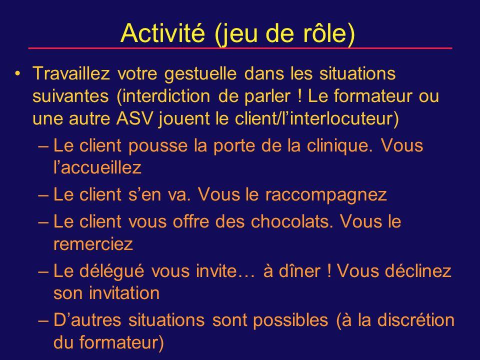 Activité (jeu de rôle) Travaillez votre gestuelle dans les situations suivantes (interdiction de parler .