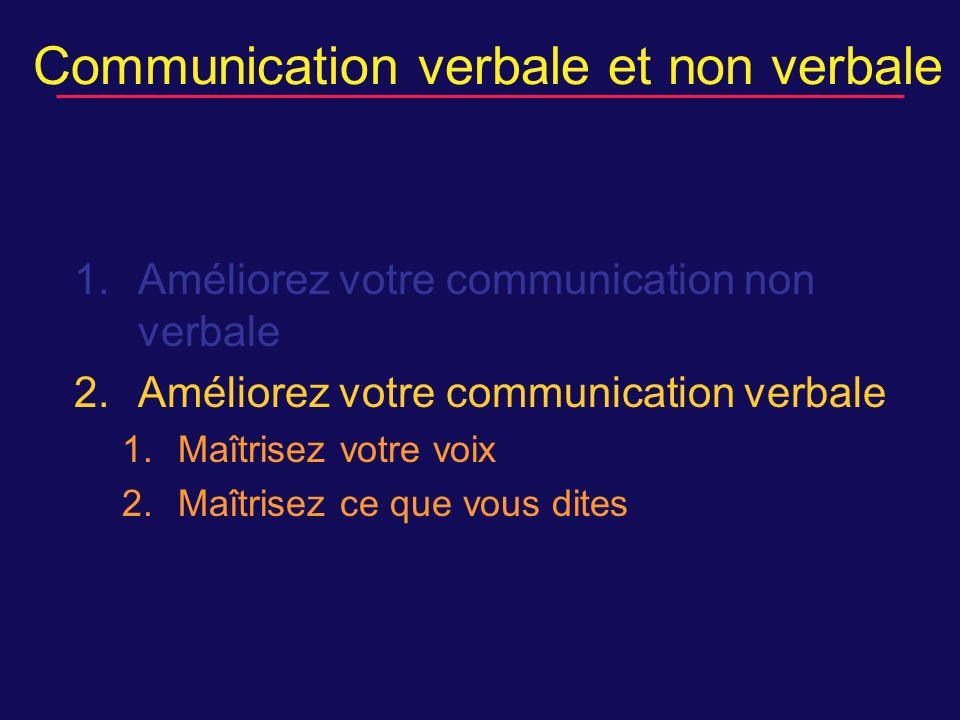 Communication verbale et non verbale 1.Améliorez votre communication non verbale 2.Améliorez votre communication verbale 1.Maîtrisez votre voix 2.Maîtrisez ce que vous dites