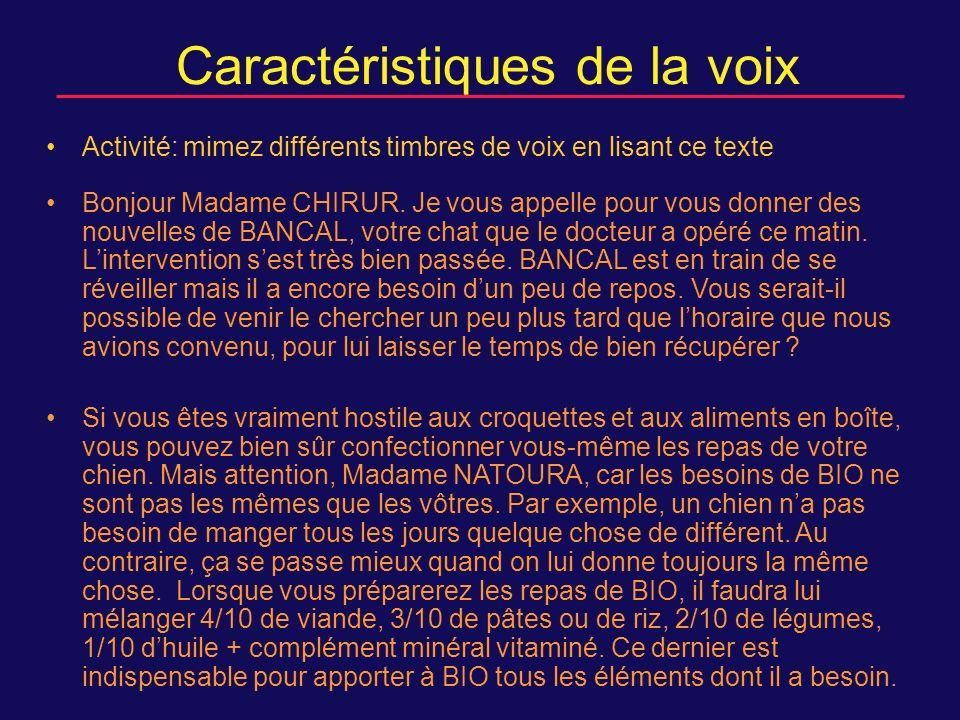 Caractéristiques de la voix Activité: mimez différents timbres de voix en lisant ce texte Bonjour Madame CHIRUR.