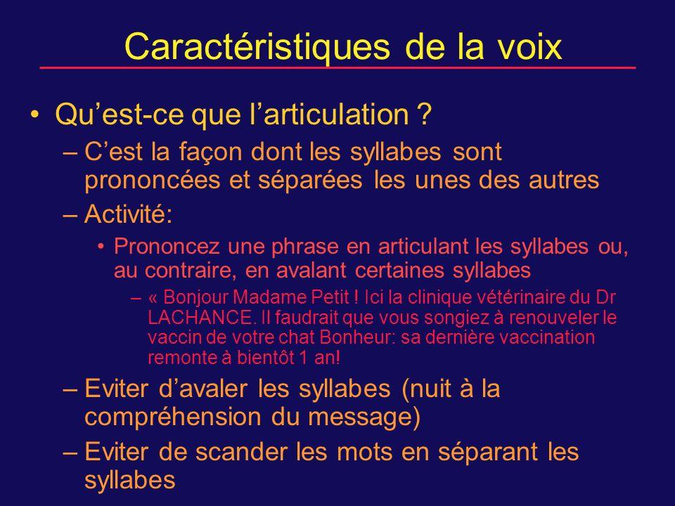 Caractéristiques de la voix Quest-ce que larticulation .