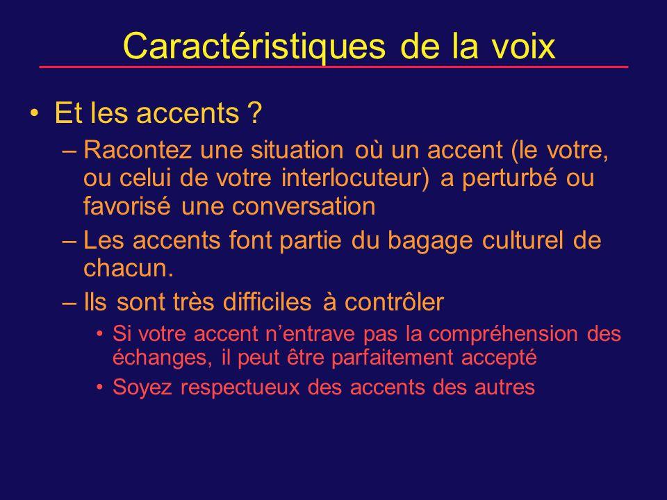 Caractéristiques de la voix Et les accents .