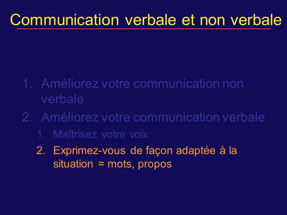 Communication verbale et non verbale 1.Améliorez votre communication non verbale 2.Améliorez votre communication verbale 1.Maîtrisez votre voix 2.Exprimez-vous de façon adaptée à la situation = mots, propos
