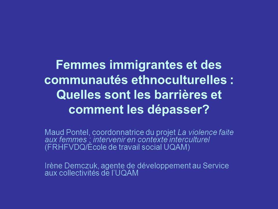 Statut dimmigration Entre 1995 et 2004 : –48% des femmes immigrantes sont reçues dans la catégorie dimmigration économique –31 % dans le cadre du regroupement familial –20 % comme réfugiées