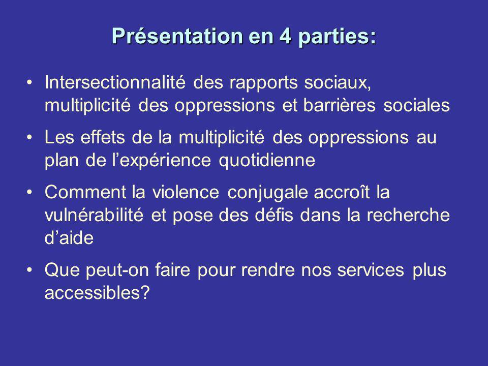 Présentation en 4 parties: Intersectionnalité des rapports sociaux, multiplicité des oppressions et barrières sociales Les effets de la multiplicité d
