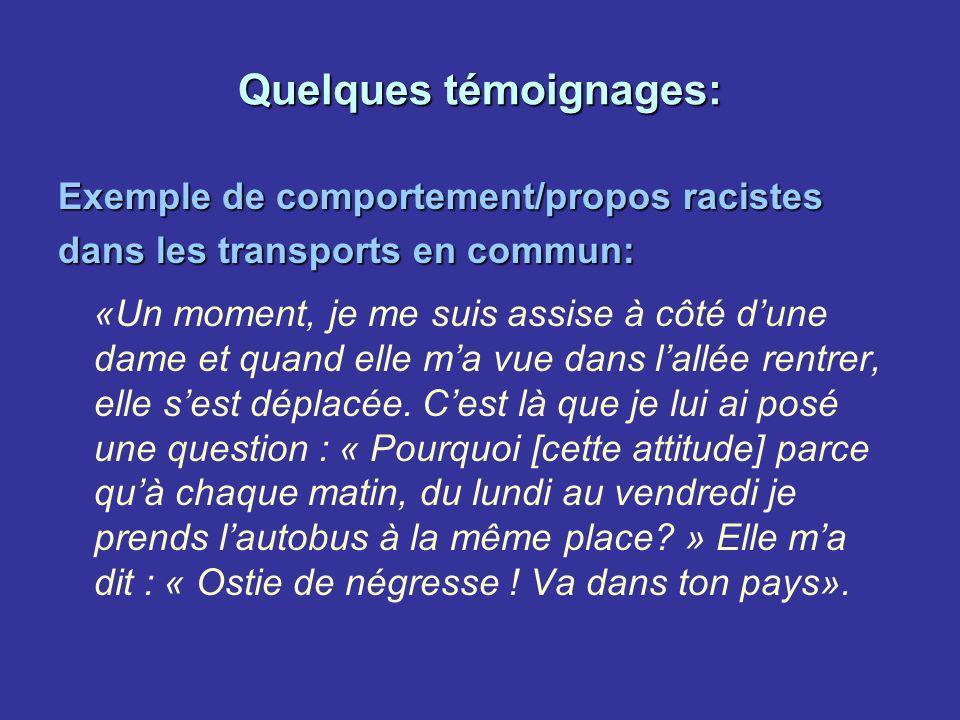 Quelques témoignages: Exemple de comportement/propos racistes dans les transports en commun: «Un moment, je me suis assise à côté dune dame et quand e