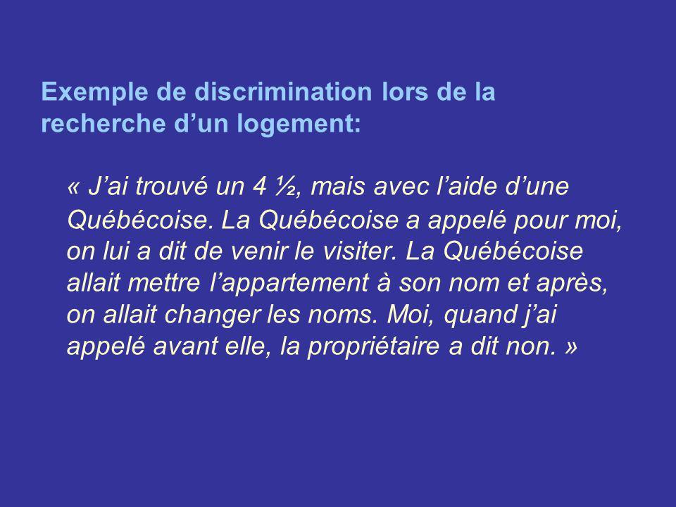 Exemple de discrimination lors de la recherche dun logement: « Jai trouvé un 4 ½, mais avec laide dune Québécoise. La Québécoise a appelé pour moi, on
