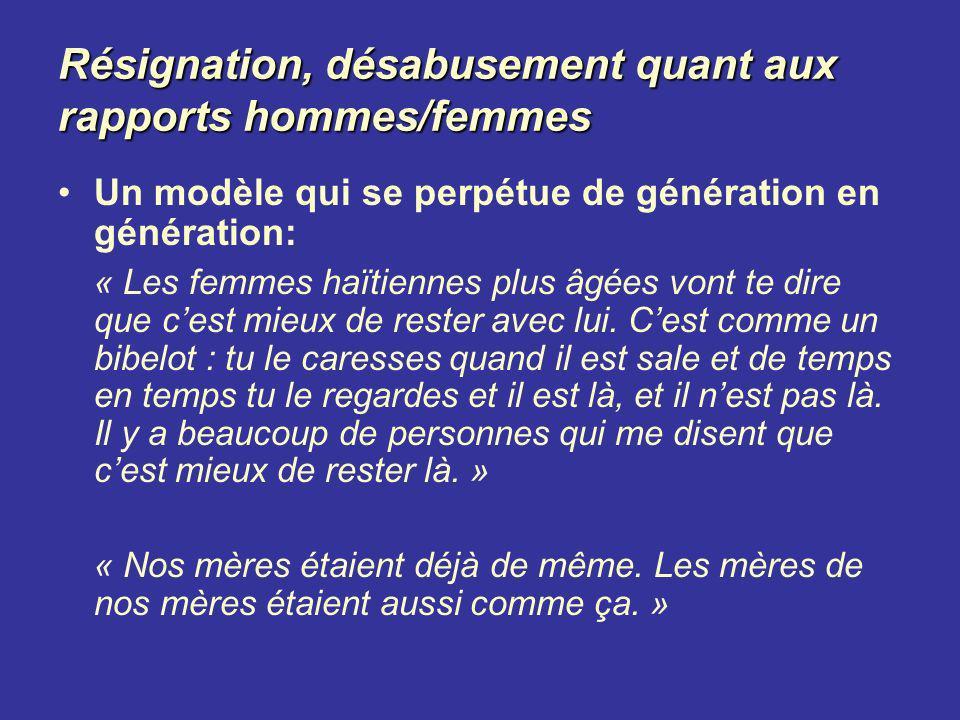 Résignation, désabusement quant aux rapports hommes/femmes Un modèle qui se perpétue de génération en génération: « Les femmes haïtiennes plus âgées v
