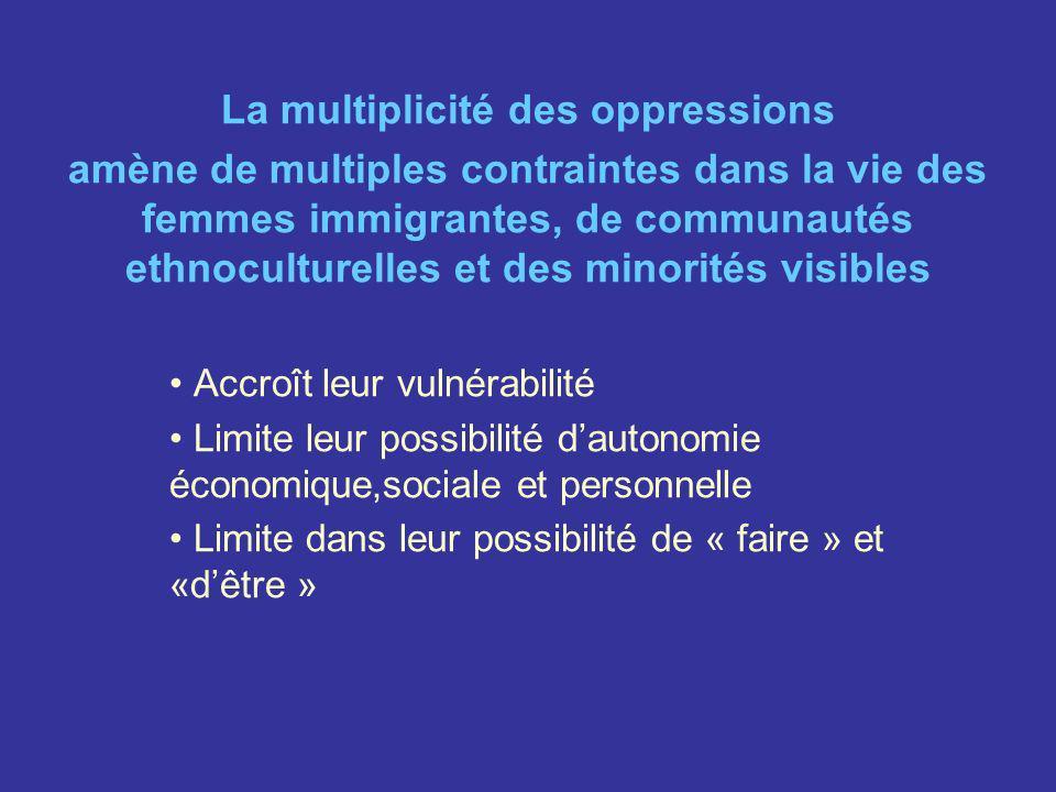La multiplicité des oppressions amène de multiples contraintes dans la vie des femmes immigrantes, de communautés ethnoculturelles et des minorités vi