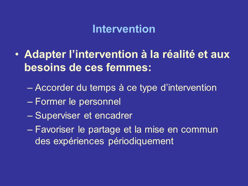 Intervention Adapter lintervention à la réalité et aux besoins de ces femmes: –Accorder du temps à ce type dintervention –Former le personnel –Supervi