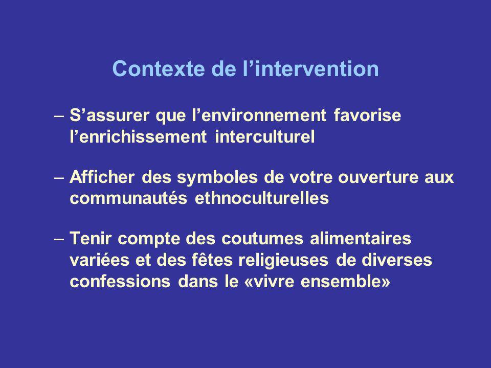 Contexte de lintervention –Sassurer que lenvironnement favorise lenrichissement interculturel –Afficher des symboles de votre ouverture aux communauté