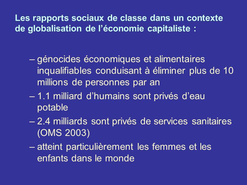 Les rapports sociaux de classe dans un contexte de globalisation de léconomie capitaliste : –génocides économiques et alimentaires inqualifiables cond
