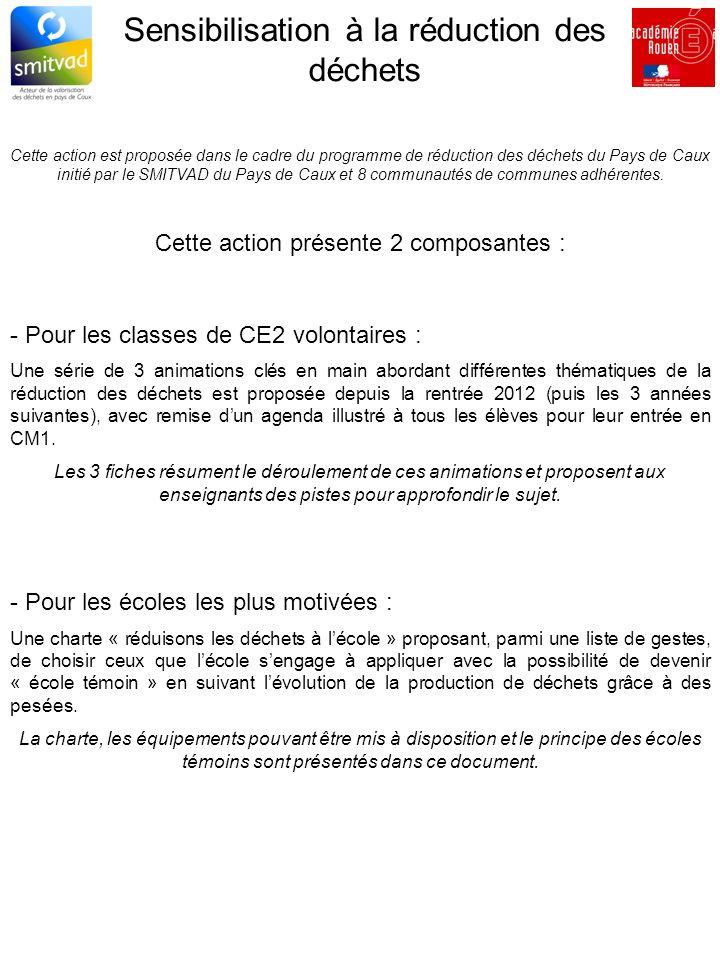 Sensibilisation à la réduction des déchets Cette action est proposée dans le cadre du programme de réduction des déchets du Pays de Caux initié par le SMITVAD du Pays de Caux et 8 communautés de communes adhérentes.