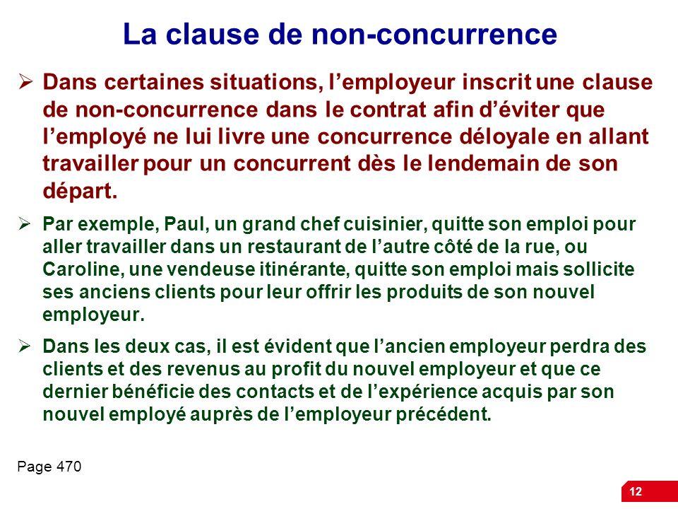 12 La clause de non-concurrence Dans certaines situations, lemployeur inscrit une clause de non-concurrence dans le contrat afin déviter que lemployé