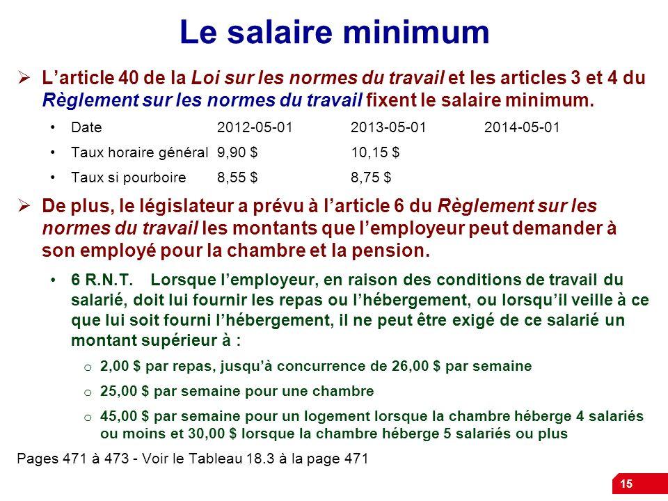 15 Le salaire minimum Larticle 40 de la Loi sur les normes du travail et les articles 3 et 4 du Règlement sur les normes du travail fixent le salaire