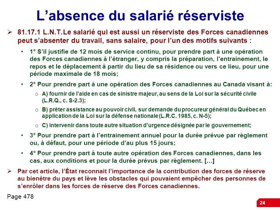 24 Labsence du salarié réserviste 81.17.1 L.N.T.Le salarié qui est aussi un réserviste des Forces canadiennes peut sabsenter du travail, sans salaire,