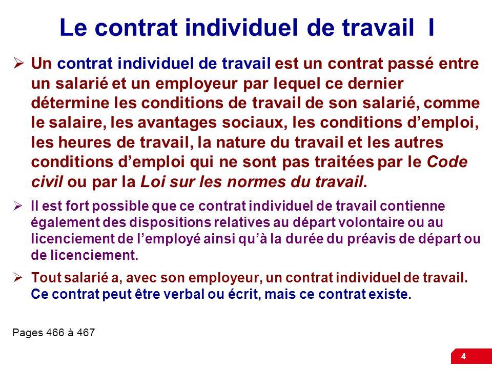 4 Le contrat individuel de travail I Un contrat individuel de travail est un contrat passé entre un salarié et un employeur par lequel ce dernier déte