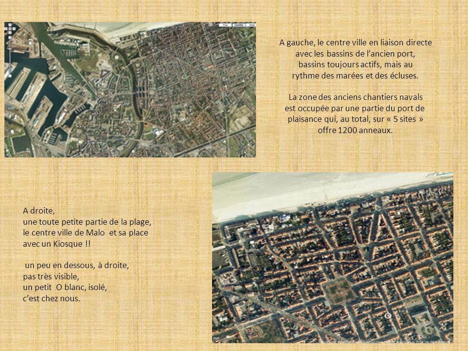 A gauche, le centre ville en liaison directe avec les bassins de lancien port, bassins toujours actifs, mais au rythme des marées et des écluses. La z