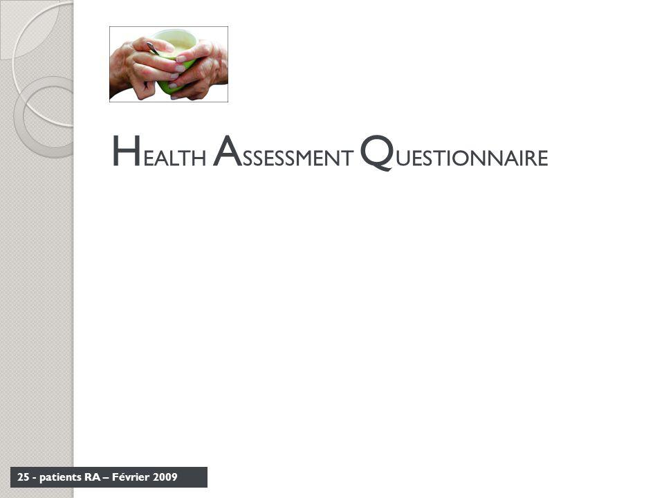 25 - patients RA – Février 2009 H EALTH A SSESSMENT Q UESTIONNAIRE