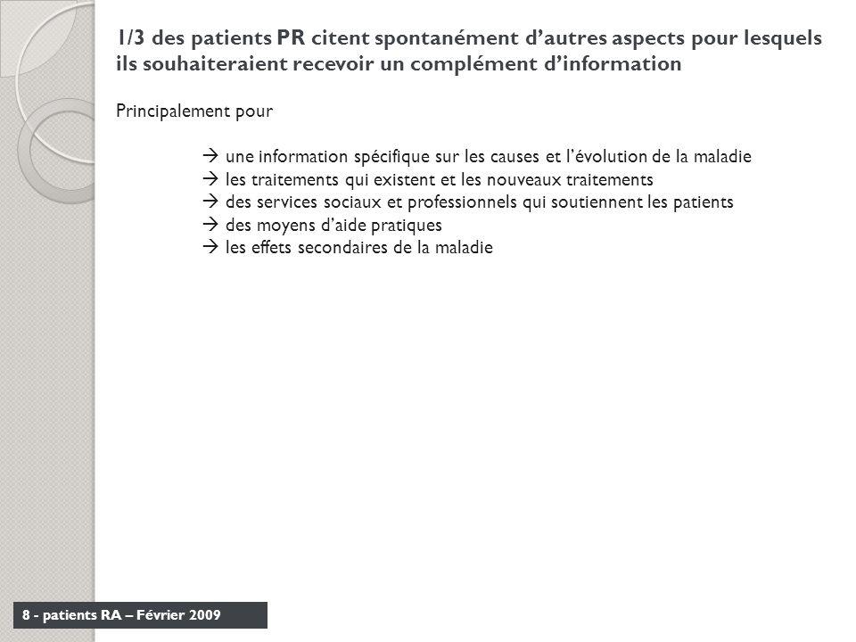 8 - patients RA – Février 2009 1/3 des patients PR citent spontanément dautres aspects pour lesquels ils souhaiteraient recevoir un complément dinform