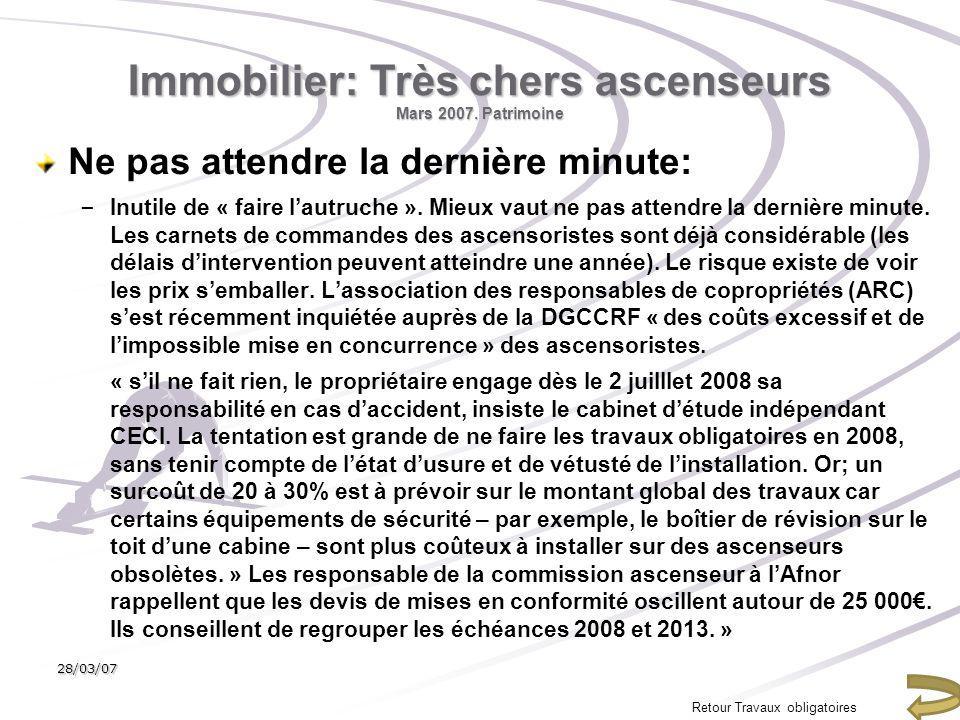 Immobilier: Très chers ascenseurs Mars 2007. Patrimoine Ne pas attendre la dernière minute: – Inutile de « faire lautruche ». Mieux vaut ne pas attend