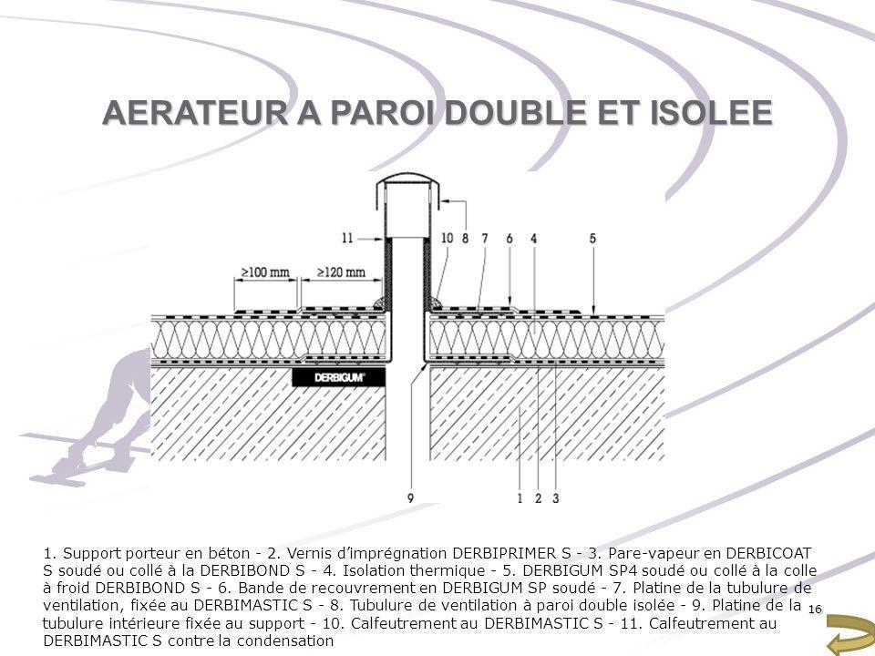 AERATEUR A PAROI DOUBLE ET ISOLEE 1. Support porteur en béton - 2. Vernis dimprégnation DERBIPRIMER S - 3. Pare-vapeur en DERBICOAT S soudé ou collé à