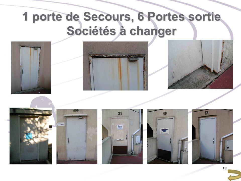 1 porte de Secours, 6 Portes sortie Sociétés à changer 18