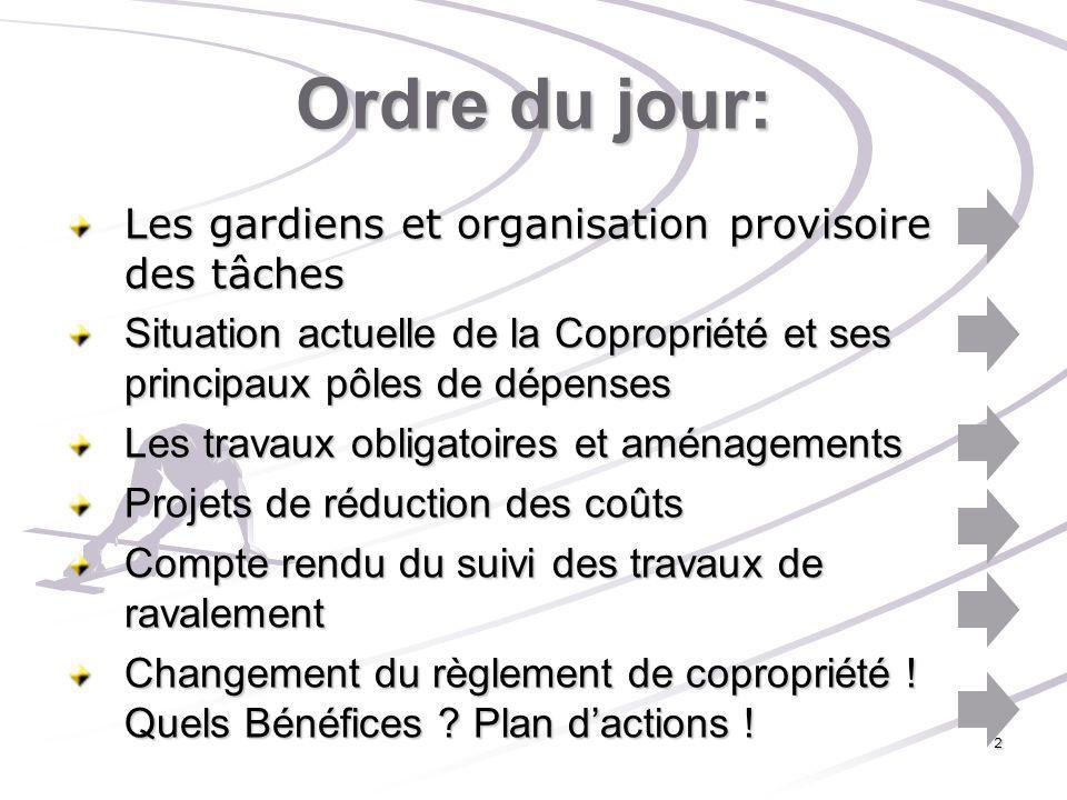 Ordre du jour: Les gardiens et organisation provisoire des tâches Situation actuelle de la Copropriété et ses principaux pôles de dépenses Les travaux