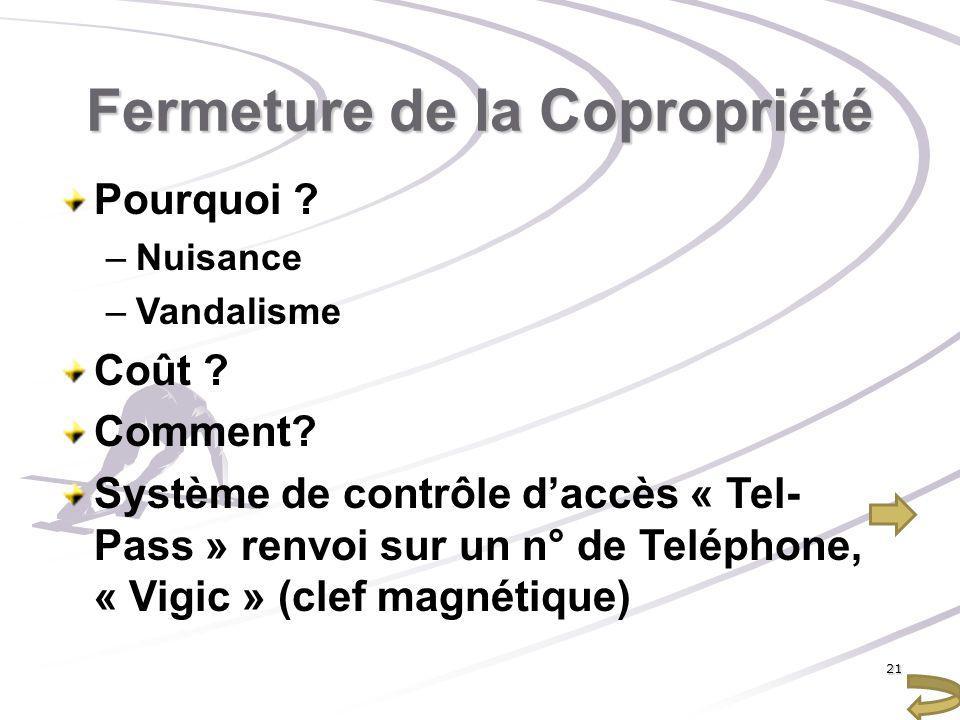 Fermeture de la Copropriété Pourquoi ? –Nuisance –Vandalisme Coût ? Comment? Système de contrôle daccès « Tel- Pass » renvoi sur un n° de Teléphone, «