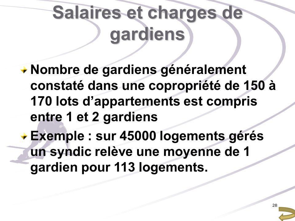 Salaires et charges de gardiens Nombre de gardiens généralement constaté dans une copropriété de 150 à 170 lots dappartements est compris entre 1 et 2
