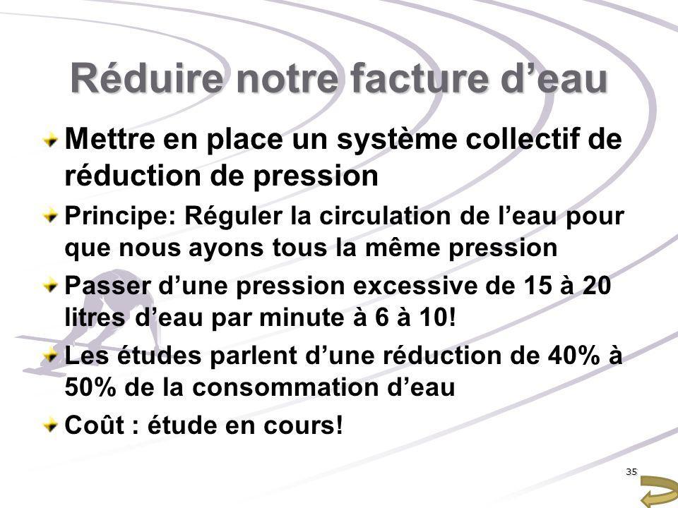Réduire notre facture deau Mettre en place un système collectif de réduction de pression Principe: Réguler la circulation de leau pour que nous ayons