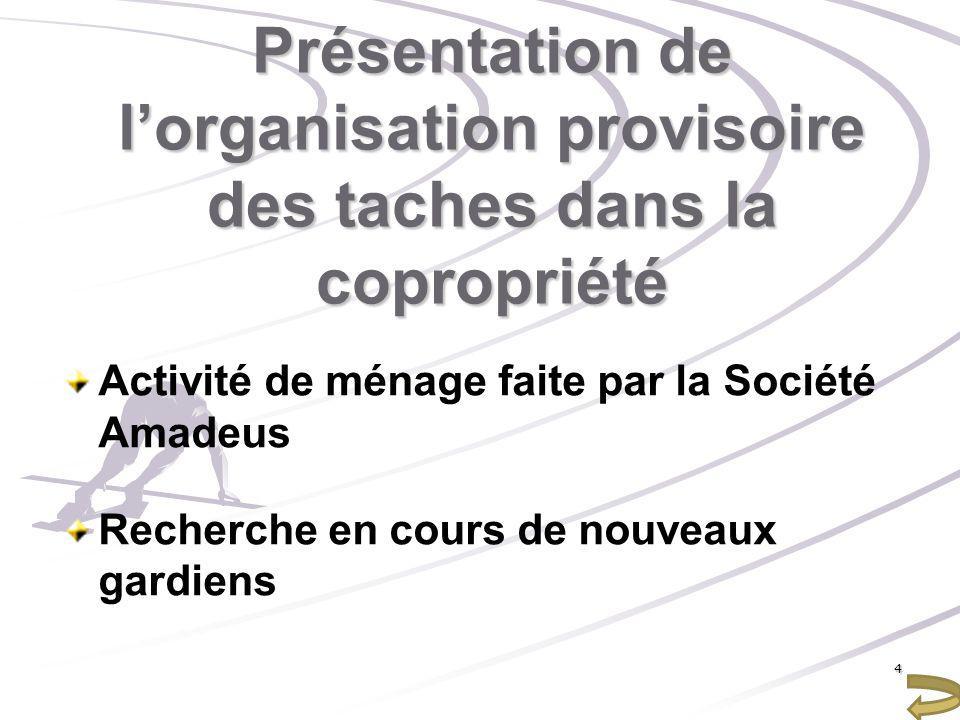 Présentation de lorganisation provisoire des taches dans la copropriété Activité de ménage faite par la Société Amadeus Recherche en cours de nouveaux