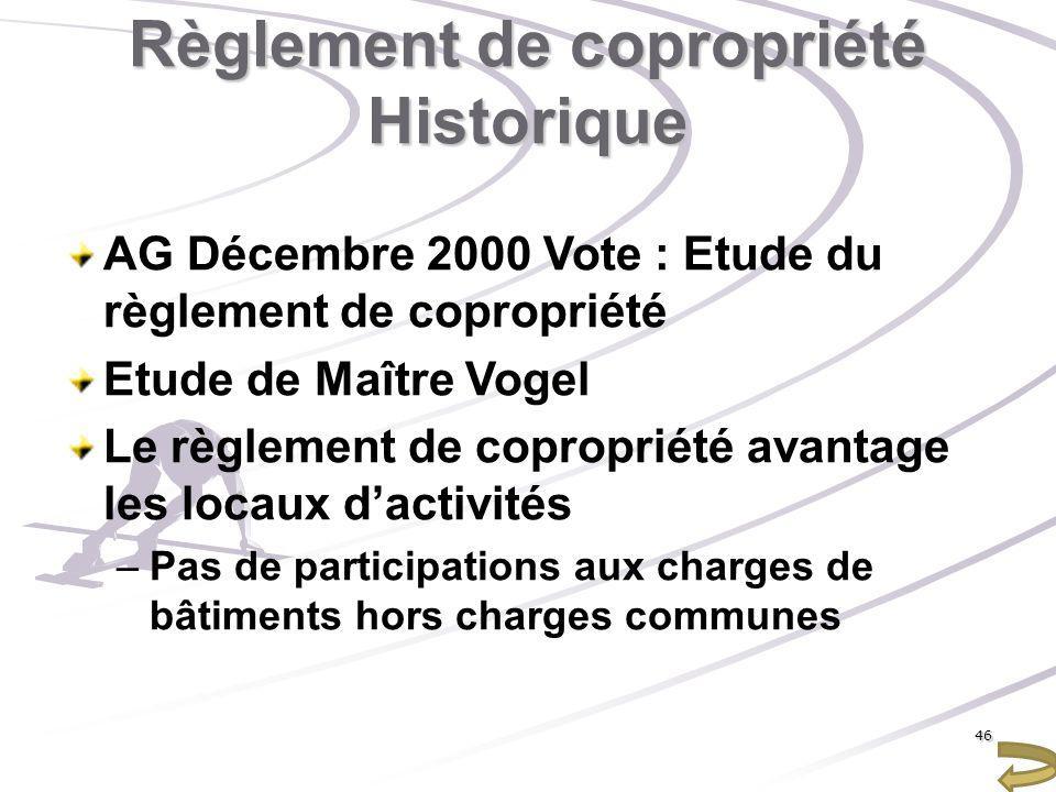 Règlement de copropriété Historique AG Décembre 2000 Vote : Etude du règlement de copropriété Etude de Maître Vogel Le règlement de copropriété avanta