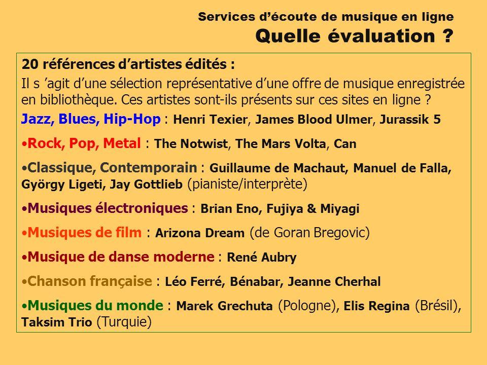 20 références dartistes édités : Il s agit dune sélection représentative dune offre de musique enregistrée en bibliothèque.