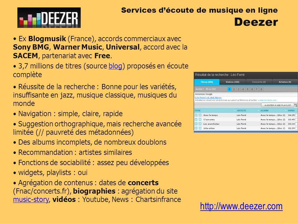 http://www.deezer.com Services découte de musique en ligne Deezer Ex Blogmusik (France), accords commerciaux avec Sony BMG, Warner Music, Universal, a