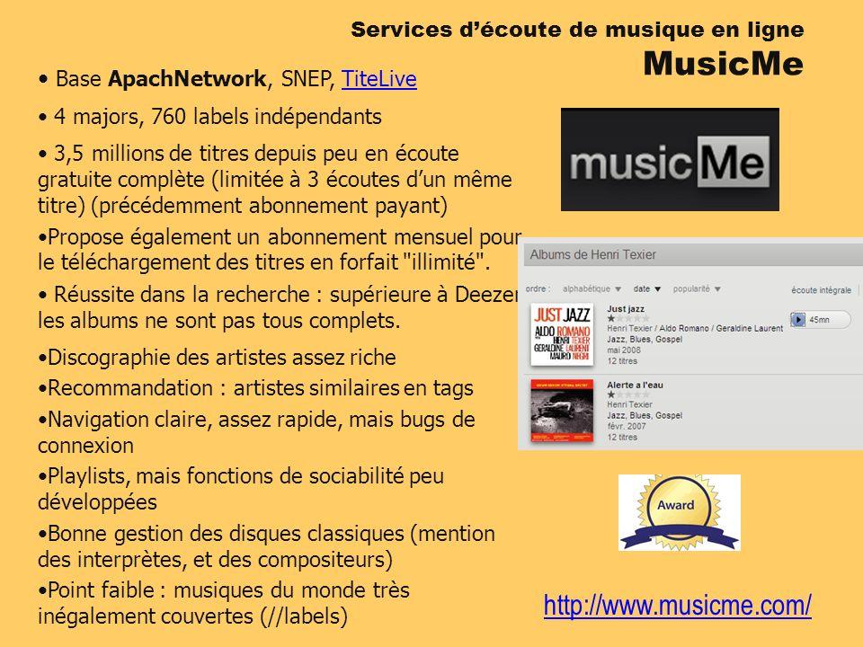 http://www.musicme.com/ Services découte de musique en ligne MusicMe Base ApachNetwork, SNEP, TiteLiveTiteLive 4 majors, 760 labels indépendants 3,5 m