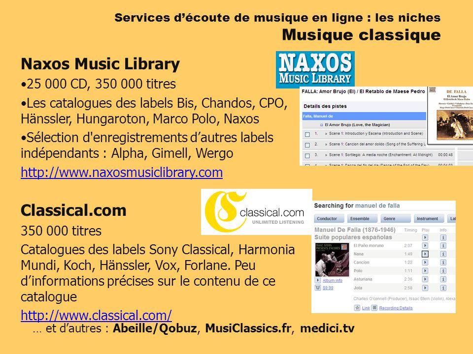 Services découte de musique en ligne : les niches Musique classique Naxos Music Library 25 000 CD, 350 000 titres Les catalogues des labels Bis, Chand