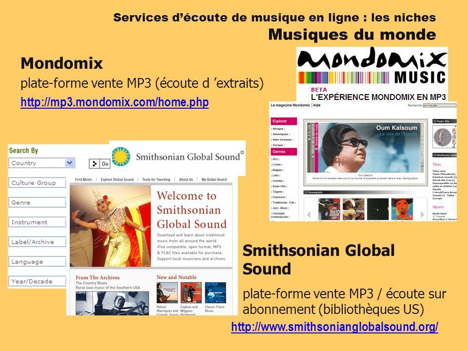 Services découte de musique en ligne : les niches Musiques du monde Mondomix plate-forme vente MP3 (écoute d extraits) http://mp3.mondomix.com/home.php Smithsonian Global Sound plate-forme vente MP3 / écoute sur abonnement (bibliothèques US) http://www.smithsonianglobalsound.org/