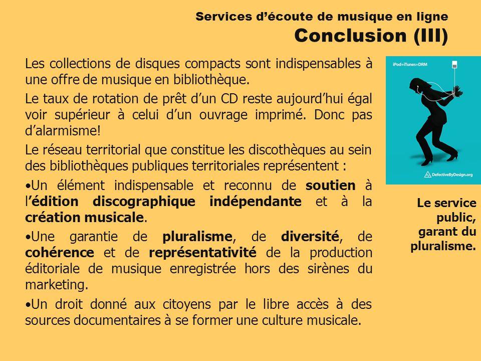 Les collections de disques compacts sont indispensables à une offre de musique en bibliothèque. Le taux de rotation de prêt dun CD reste aujourdhui ég