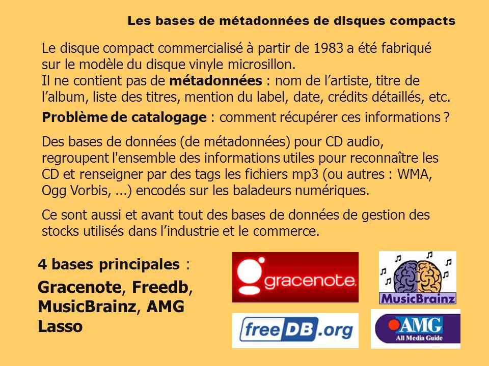 4 bases principales : Gracenote, Freedb, MusicBrainz, AMG Lasso Les bases de métadonnées de disques compacts Le disque compact commercialisé à partir de 1983 a été fabriqué sur le modèle du disque vinyle microsillon.