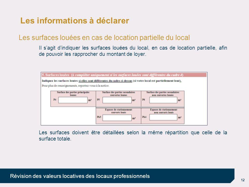 12 Révision des valeurs locatives des locaux professionnels Les informations à déclarer Les surfaces louées en cas de location partielle du local Il s