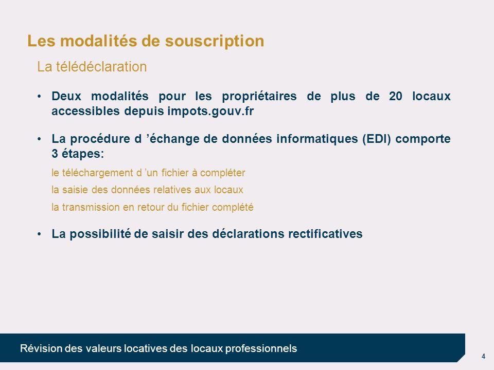 4 Révision des valeurs locatives des locaux professionnels Les modalités de souscription La télédéclaration Deux modalités pour les propriétaires de p