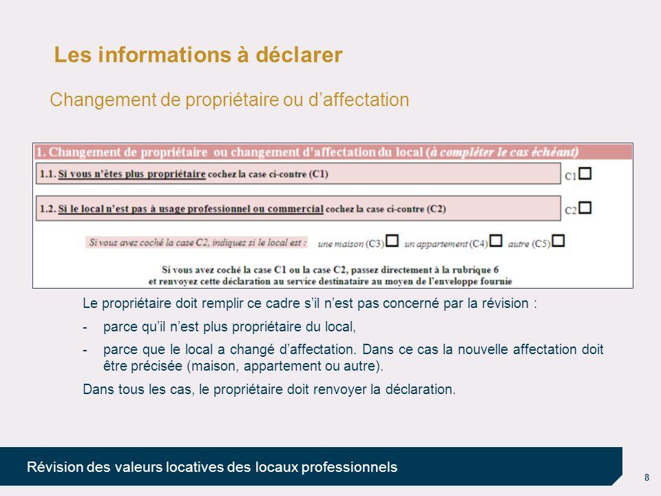 8 Révision des valeurs locatives des locaux professionnels Les informations à déclarer Changement de propriétaire ou daffectation Le propriétaire doit