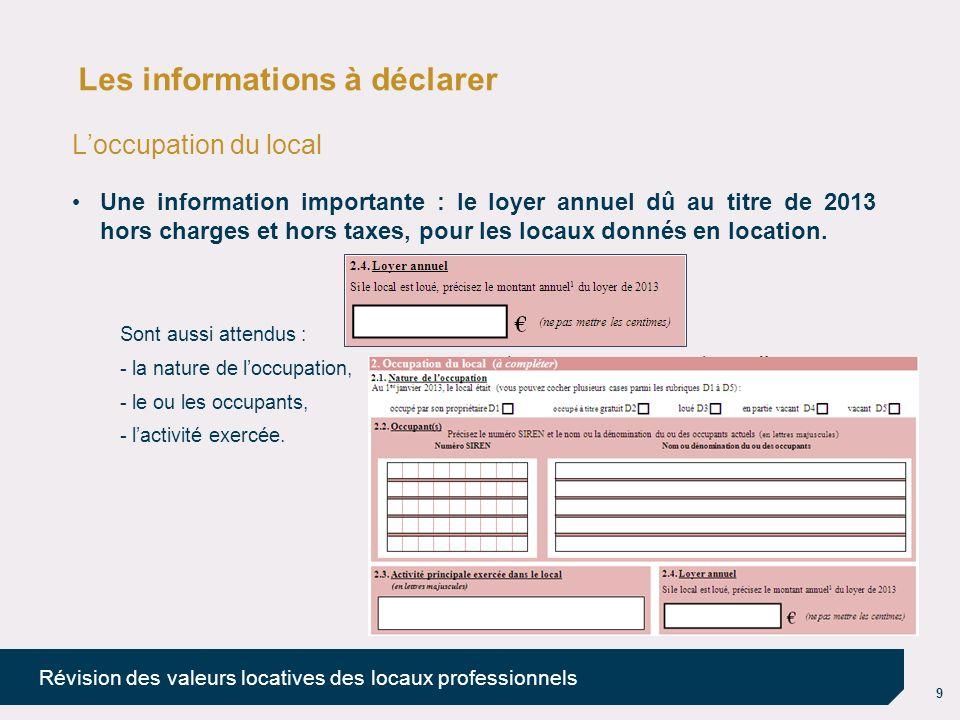 10 Révision des valeurs locatives des locaux professionnels Les informations à déclarer La catégorie du local La catégorie est à choisir parmi une liste proposée de 39 catégories (définies par décret n° 2011-1267 du 10 octobre 2011).