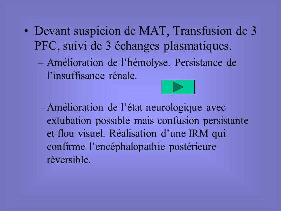 Devant suspicion de MAT, Transfusion de 3 PFC, suivi de 3 échanges plasmatiques. –Amélioration de lhémolyse. Persistance de linsuffisance rénale. –Amé