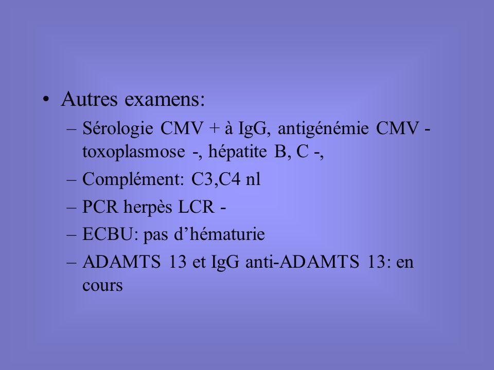 Autres examens: –Sérologie CMV + à IgG, antigénémie CMV - toxoplasmose -, hépatite B, C -, –Complément: C3,C4 nl –PCR herpès LCR - –ECBU: pas dhématur