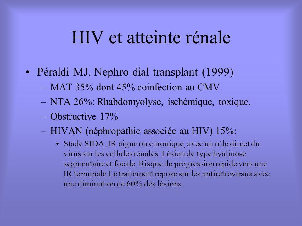 HIV et atteinte rénale Péraldi MJ. Nephro dial transplant (1999) –MAT 35% dont 45% coinfection au CMV. –NTA 26%: Rhabdomyolyse, ischémique, toxique. –