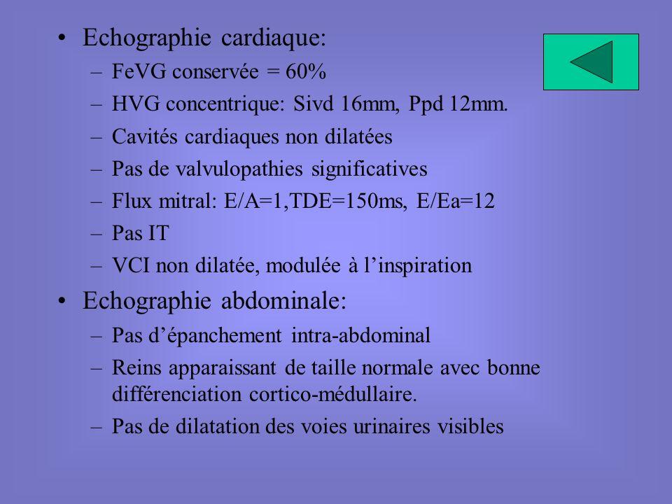 Echographie cardiaque: –FeVG conservée = 60% –HVG concentrique: Sivd 16mm, Ppd 12mm. –Cavités cardiaques non dilatées –Pas de valvulopathies significa